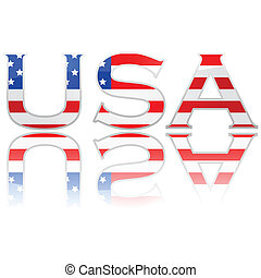 Flag in letters USA - Concept illustration showing the...