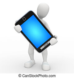 Kiko Blue Screen Phone - 3D image, a character talking on...