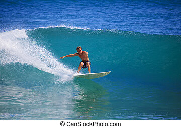 jovem, homem, surfando, Ponto, pânico, Havaí