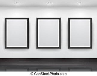 Gallery Interior with empty black frameN? on wall