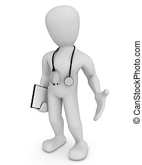 doctor - 3D image, medical report in hand with
