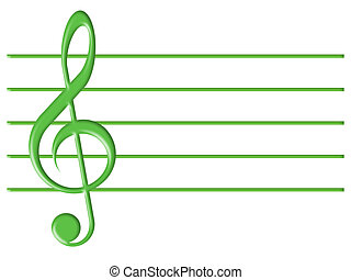 Treble clef and musical lines on a white background