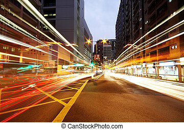 Traffic in downtown at night,hongkong city