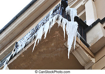 Icicles on a balcony