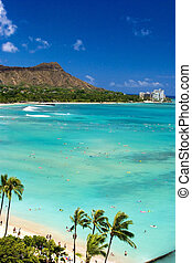 Waikiki, playa, diamante, cabeza, Hawai