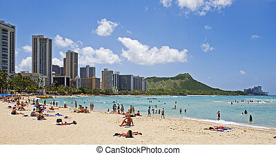 waikiki beach and diamond head crater on the island of oahu,...