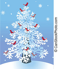 Winter Pine with Red Birds - Red birds perched in a snowy...