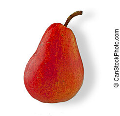 Red pear - Beautiful red pear over white, white light shade