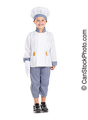 little girl in chef uniform - happy little girl in chef...