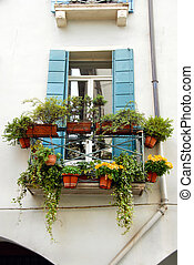 Terrace and window with flowerpots - terrace and window of...