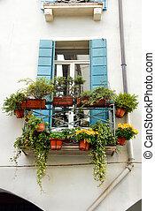 terraza, ventana, Macetas