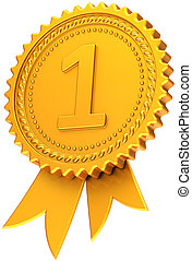 Golden first place award ribbon