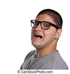 Scared Teenage Young Man - A goofy man wearing trendy nerd...