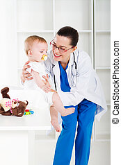 female pediatrician and baby girl