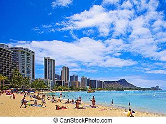 Waikiki, playa, diamante, cabeza, Oahu