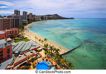 Waikiki Beach, Diamond Head on the island of Oahu, Hawaii