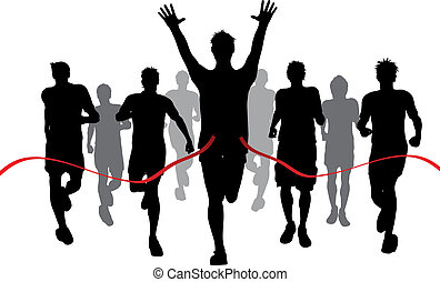 Winner - Silhouettes of men racing withone winner reaching...