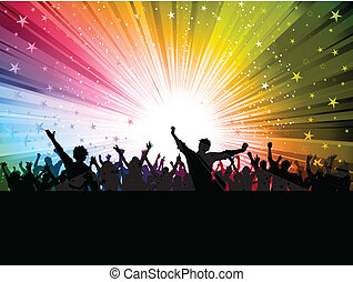 Party people - Silhouette of a party crowd on a colourful...