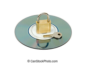 padlock key in CD disc object isolated on white background