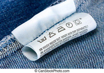 Laundry advice care symbols description , jeans blue...