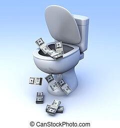 Dollar Toilet - Money found in the Toilet 3D rendered...