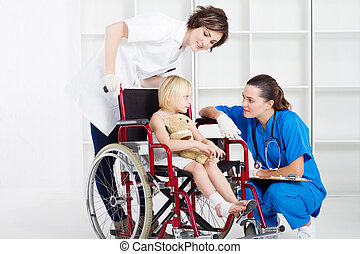 doctor, nurse and little girl patie