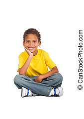 africano, criança, Menino, sentando, chão