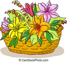 Basket with flowers lily - Vector, wattled basket with...