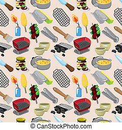 cartoon BBQ seamless pattern