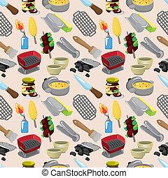 cartoon BBQ seamless pattern