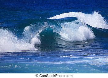 surf surges against Oahu shore