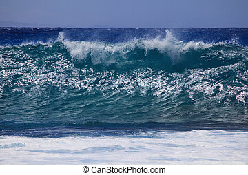 surf surges against Oahu shore - Storm surf from an...
