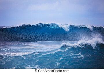 Storm surf surges against Oahu shore