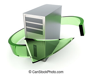 Desktop PC Recycling - 3D rendered Illustration Recycling...