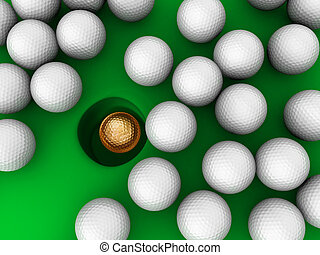 Golden Golf ball in cup with serounded golf ball