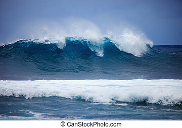 Storm surf surges against Oahu shore