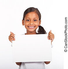 girl holding white board - African American little girl...