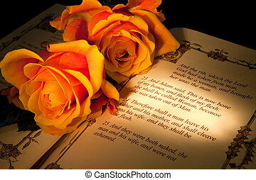 Genesis wedding text - Roses and bible with Genesis text of...