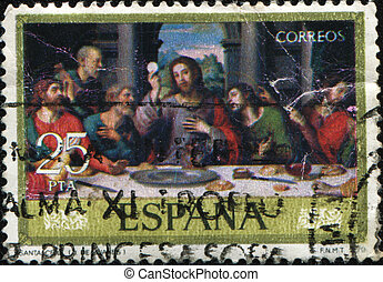 Juan de Juanes - The last supper - SPAIN - CIRCA 1979: A...