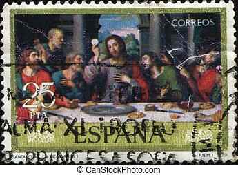 Juan de Juanes - The last supper - SPAIN - CIRCA 1979: A...