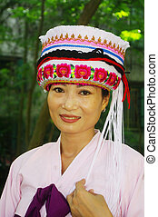 Headdress ethnic Chinese - Woman in traditional dress of...