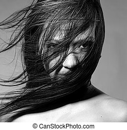 Hair everywhere - Nude beauty model in studio with hair...