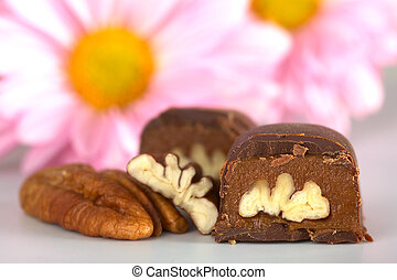 Pecan nut truffle with pecan nut beside and pink flowers in...