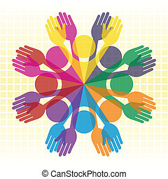 Large group of colorful people. - Large group of overlapping...