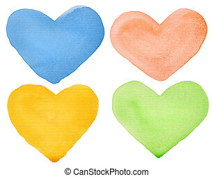 Watercolor hearts - Watercolor hand painted hearts Made...