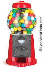 gumball machine isolated on white with clipping path