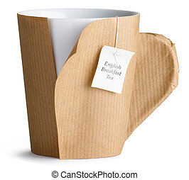 a cup mug of tea wrapped in brown paper ready for an office move isolated on a white background with white english breakfast tea label