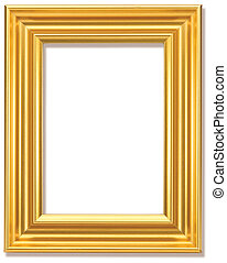 gold picture frame isolated with clipping path