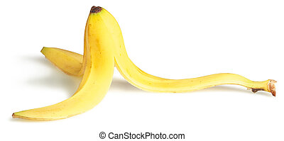 slippery banana skin isolated on white with clipping path -...