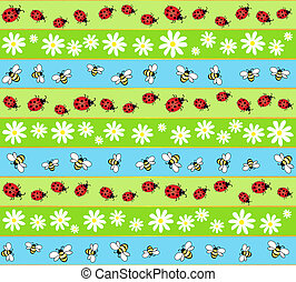 Summer seamless - A seamless background of bees, ladybirds...